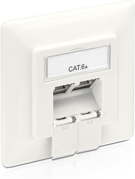 PureLink MCA200 - Caja de Conexiones Cat 6A (2 Tomas RJ45 Red, Ethernet blindada de 10 GB), Blanco, 1 Caja de Conexiones: Amazon.es: Informática