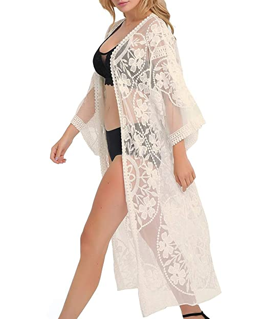 5507c5877f ESPRELA Women Swimsuit Cover Up Bathing Suit Kimono Long Beach Dress Floral  Lace Bikini Swim Coverup