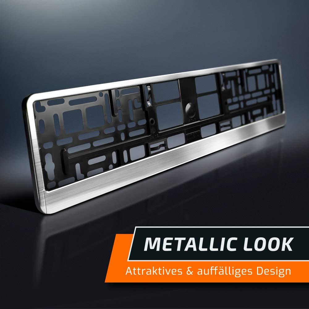 schildEVO 2 Kennzeichenhalter Matt geb/ürstet Silber Chrom-Look 520 x 110 mm