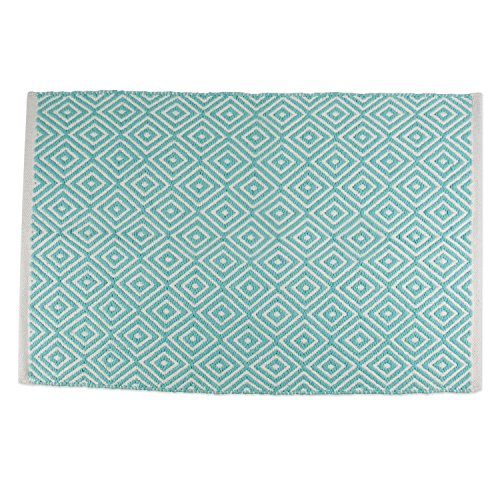Aqua Chic Collection Rug (DII Contemporary Reversible Indoor Area Rug/Mat, Machine Washable, Handmade from Cotton, Unique For Bedroom, Living Room, Kitchen, Nursery and more, 2 x 3' - Aqua Diamond)