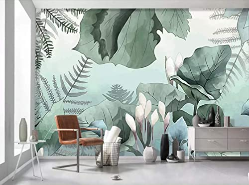 Amazon Com Murwall Forest Wallpaper Vintage Leaf Wall Mural Tropical Jungle Drawing Wall Art Exotic Leaf Wall Print Natural Cafe Design Living Room Entryway Handmade