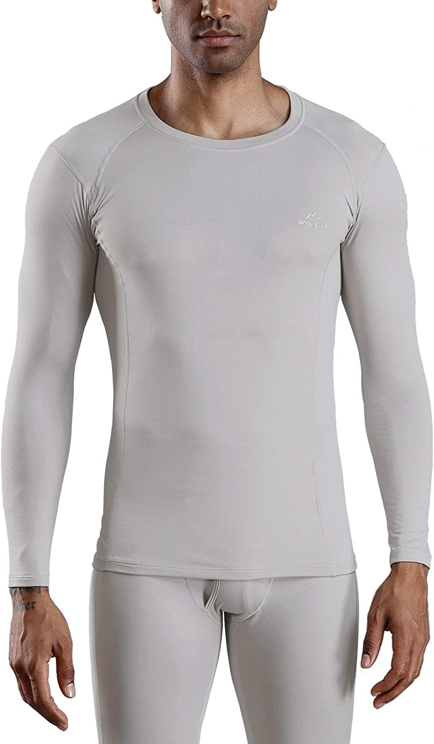 Willit Mens Thermal Base Layer Tops Long Sleeve Underwear Shirts Lightweight Fleece Lined Long Johns