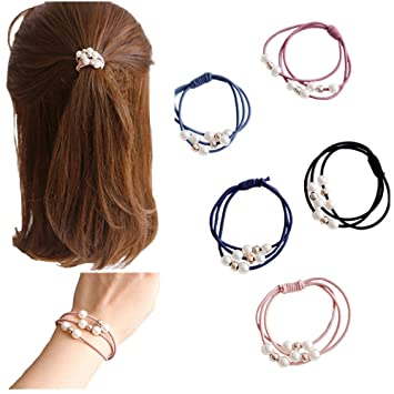 Korea Handmade Pearl Rubber Hair Band Hair Accessories Headwear Girls Headband For Women Hair Bows 5 Girl's Accessories