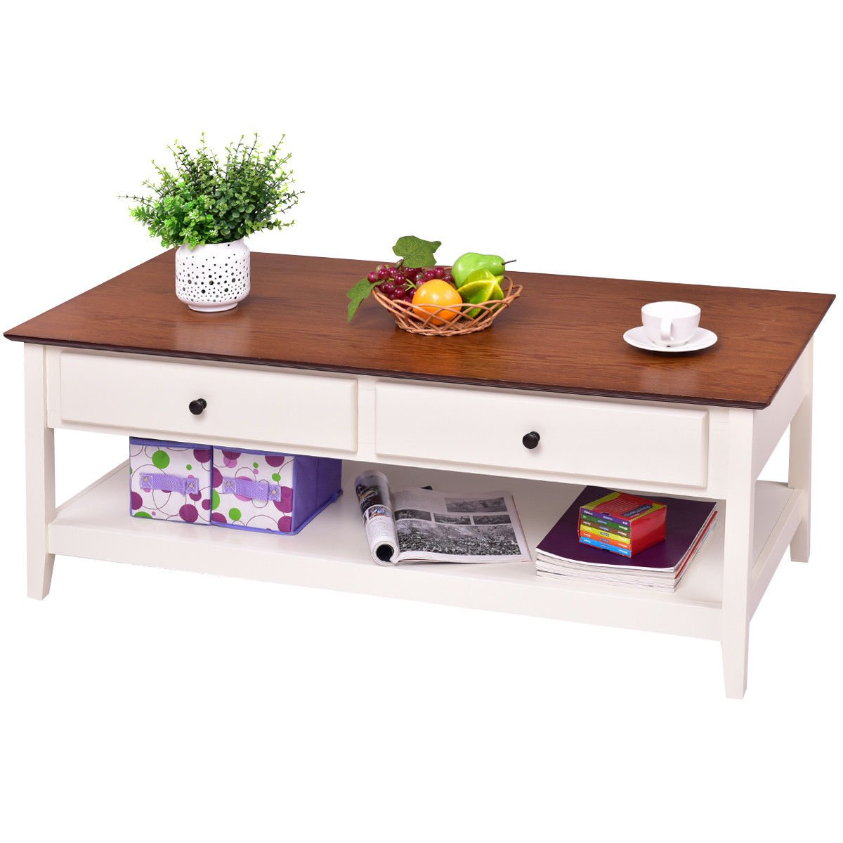 Amazon Com Giantex Wood Coffee Table Cocktail Table With Drawer