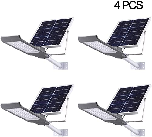 SZYOUMY Solar Street Flood Lights IP65 Outdoor Lamp 100W 5500 Lumens with Pole Remote Control Dusk to Dawn Security Lighting for Yard, Garden, Gutter, Pathway, Basketball Court, Arena 4 pcs