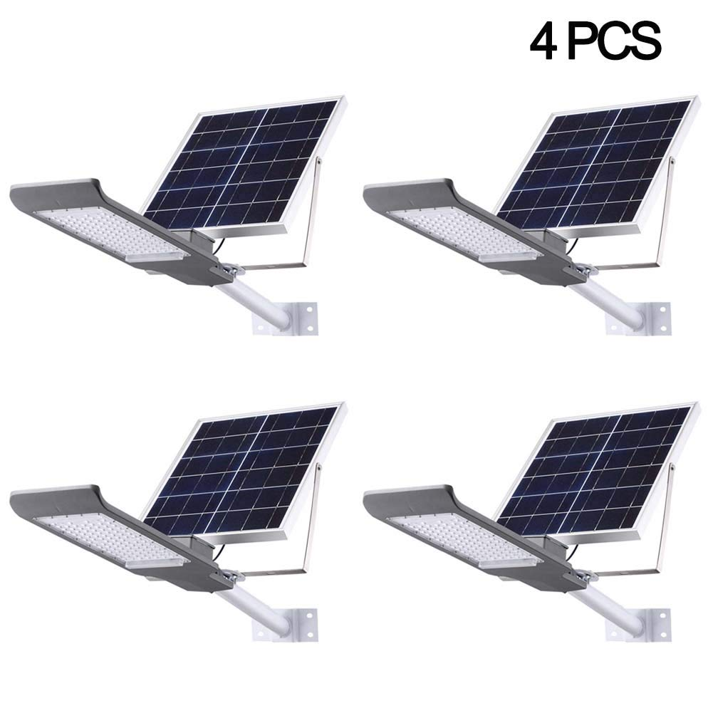 SZYOUMY Solar Street Flood Lights IP65 Outdoor Lamp 100W 5500 Lumens with Pole Remote Control Dusk to Dawn Security Lighting for Yard, Garden, Gutter, Pathway, Basketball Court, Arena (4 pcs)