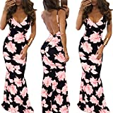 Women's Vintage Boho Beach Maxi Dress Backless Summer Print Floral Party Bohemian Fit Slim Bodycon Long Dresses (S, Pink)