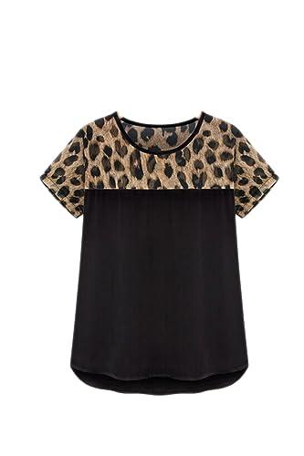 Elegante leopardo retazos sueltos camiseta de la mujer
