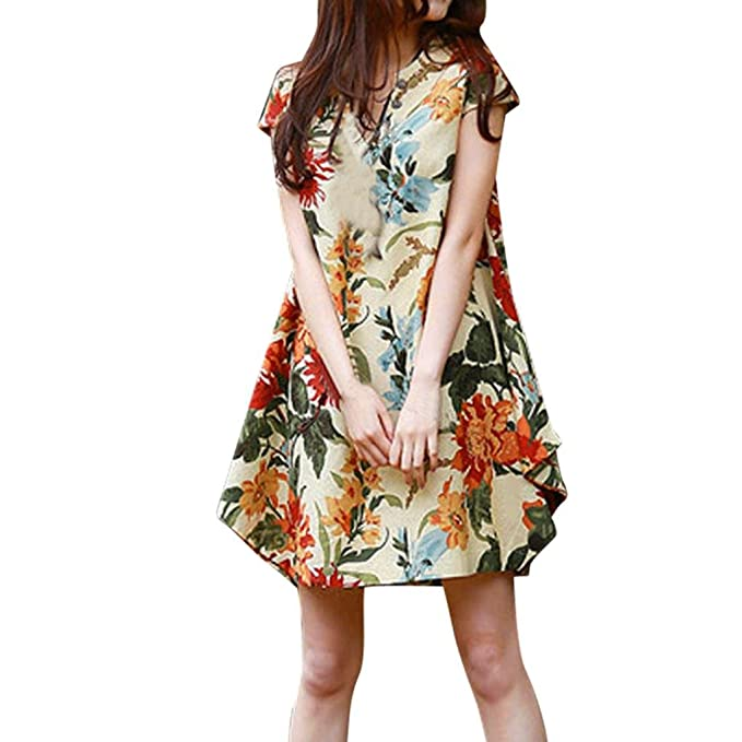 TIFENNY Women Short Sleeve V Neck Elegant Floral Printed Cotton Linen Loose Boho Casual Dress at Amazon Womens Clothing store: