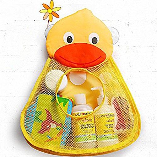Bath Tub Toy Organizer, Adorable Duck Shape Mesh Net Bath Toy Holder, Large Storage w/ Two Heavy Duty Suction Cups (Yellow)