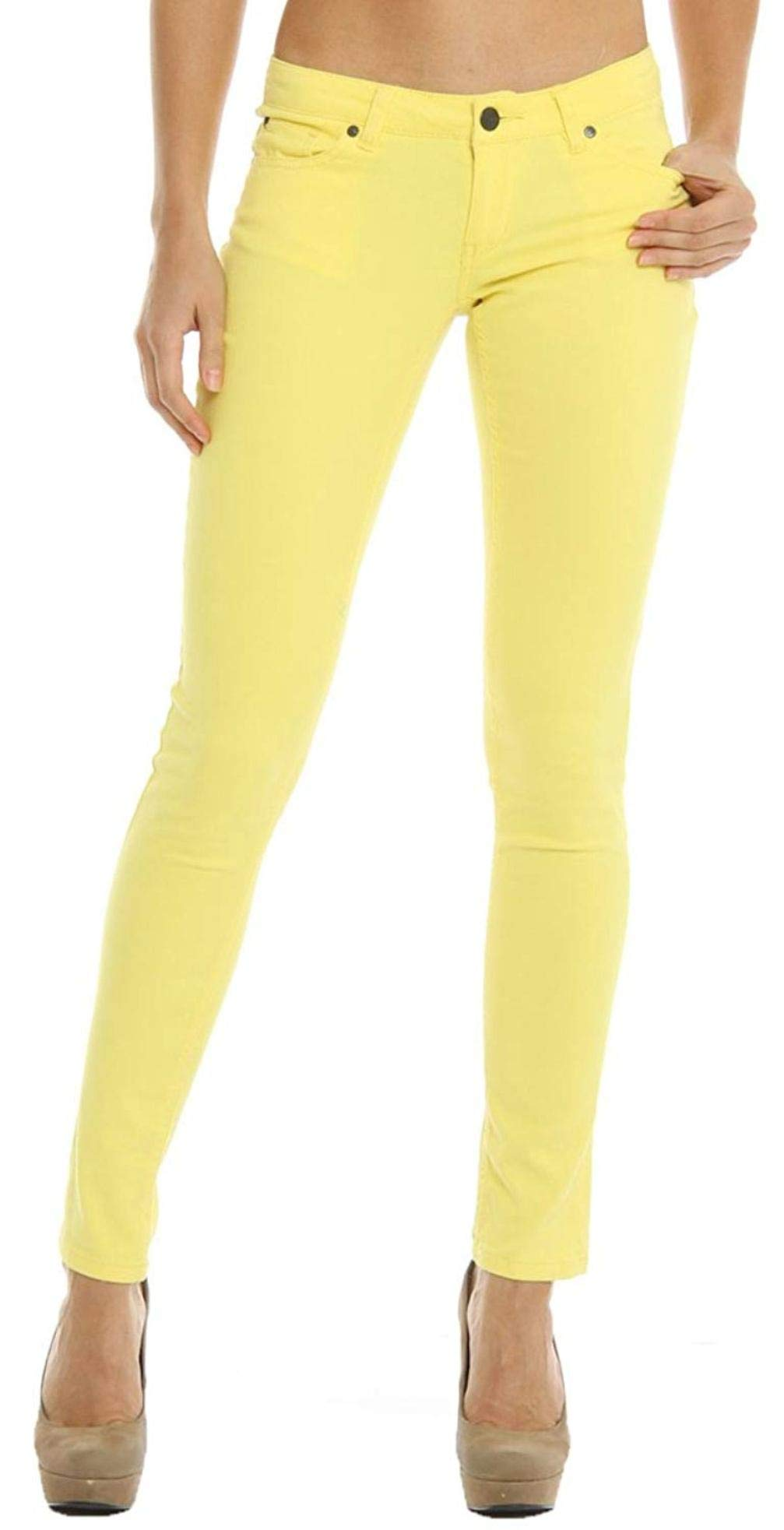 Masoi 1826 Color Series Junior's Women's Skinny Jeans Stretch Pants (1, Yellow)