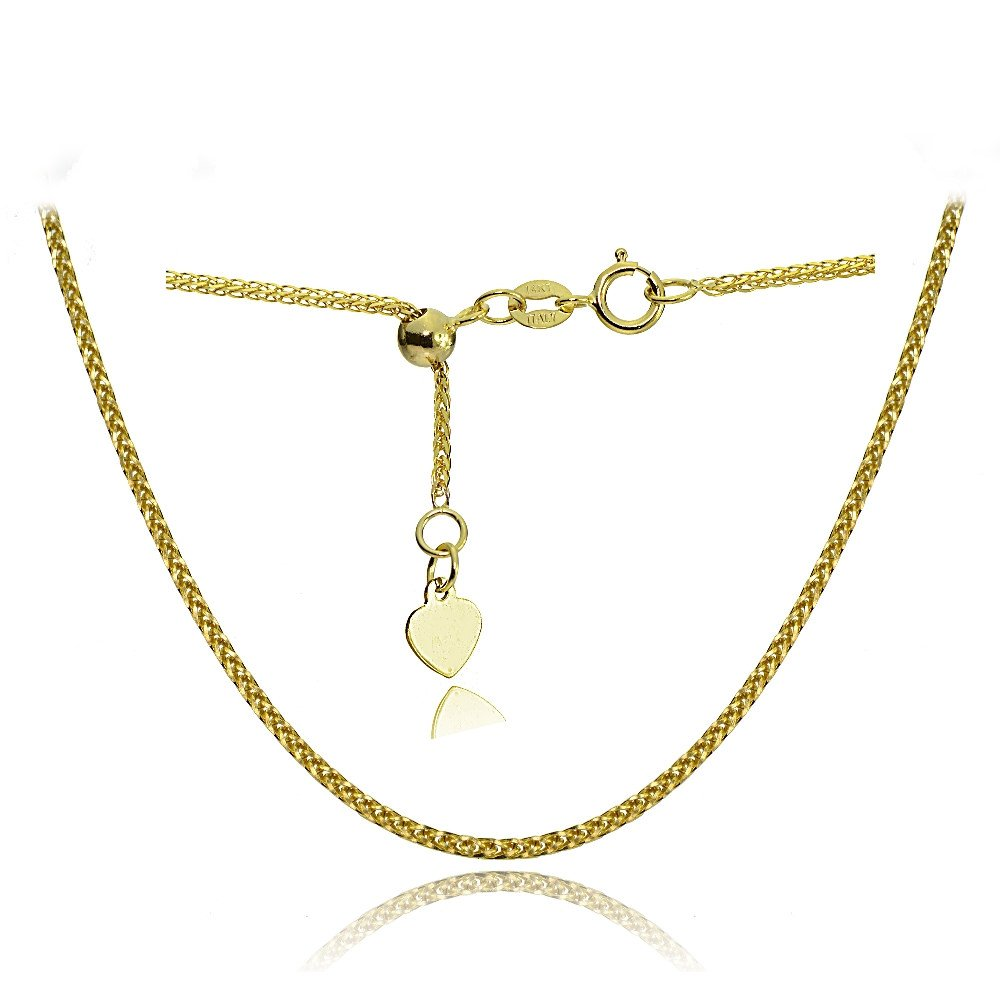Bria Lou 14k Yellow Gold .8mm Italian Spiga Wheat Adjustable Chain Anklet, 9-11 Inches