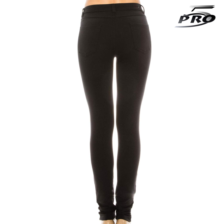 Pro 5 Girls Skinny Stretched Terry Pants Black School Uniform 4-14 Size