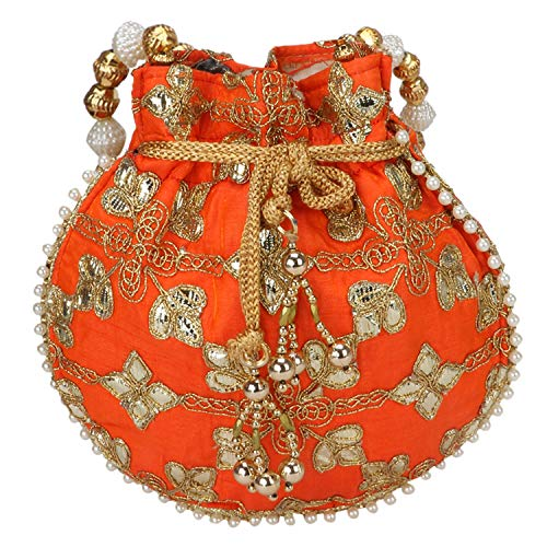 Indian Ethnic Designer Embroidered Silk Potli Bag Batwa Pearls Handle Purse (Orange)