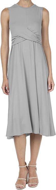 9051 Women's Sleeveless Flared Draped Calf-Length Midi Long Dress Lt.Grey S