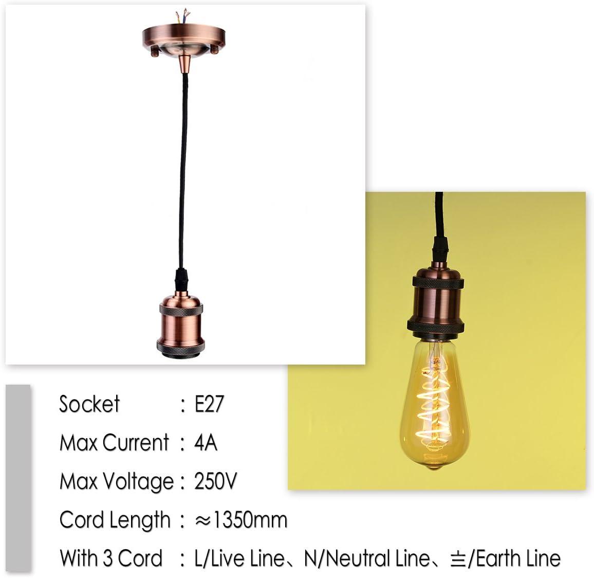 GreenSun LED Lighting Douille Edison E27 Adaptateur De Lampe Lustre Style R/étro Vintage Antique En Cuivre Sans Fil Pour Lampoule LED C/éramique /à Lint/érieur Laiton Antique