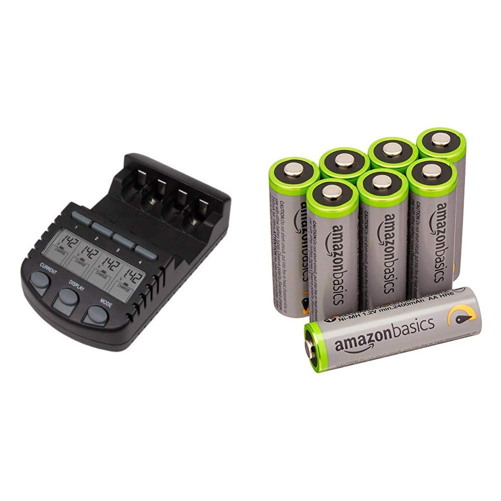 La Crosse Technology BC700-CBP Alpha Power Battery Charger & AmazonBasics AA High-Capacity Rechargeable Batteries (8-Pack) Pre-charged - Packaging May Vary
