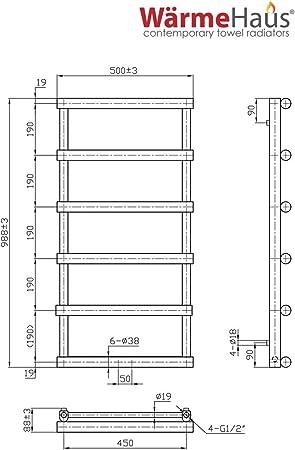 nach EN442 360 Watt Design Badheizk/örper Handtuchheizk/örper 708x542 anthrazit gebogen mit Mittelanschluss
