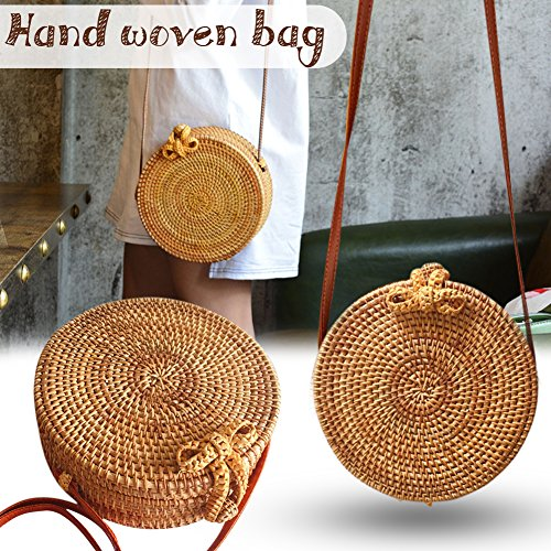 Vintage Rattan (Yunhigh Woven Bag for Women,Round Woven Bag Leather Strap Natural Rattan Braided Women Crossbody Bag Chic Vintage Summer Beach Shoulder Bag)