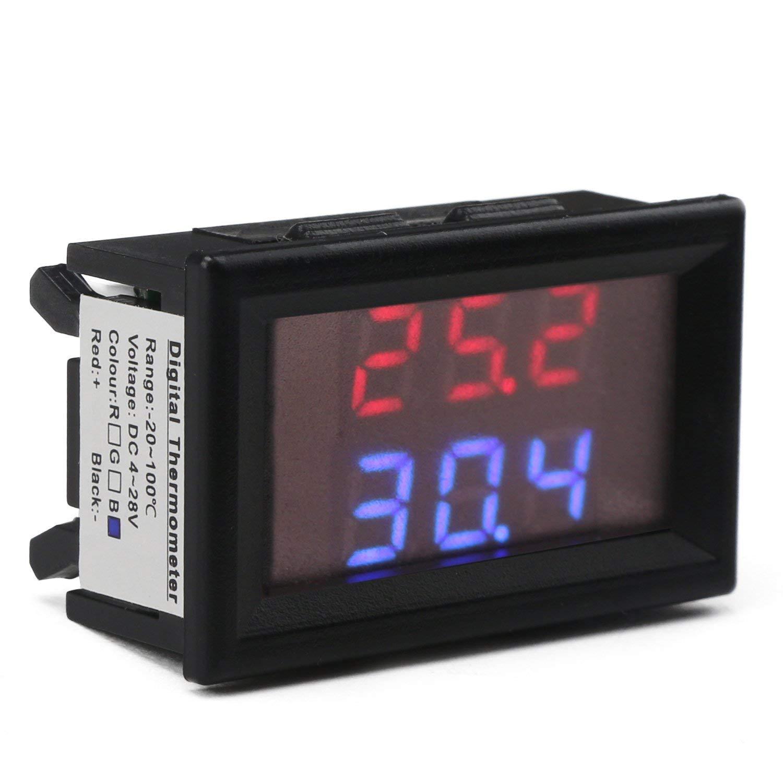 2 Pezzi Impermeabile NTC sensore di Temperatura della sonda ad Alta precisione Droking DC 4-28V Temperatura Meter Dual Digital termometro Display Misura Gauge Detector Temp