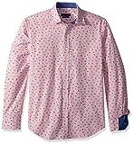 Camisa de manga larga con cuello de pico en forma de punto Bugatchi, color rosa, L