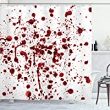 """Ambesonne Horror Shower Curtain, Splashes of Blood Grunge Style Bloodstain Horror Scary Zombie Halloween Themed Print, Cloth Fabric Bathroom Decor Set with Hooks, 70"""" Long, Red White"""