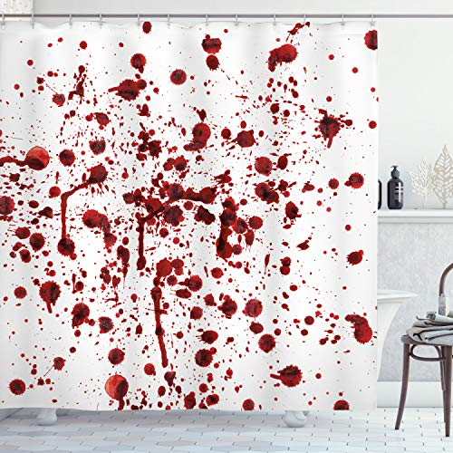 Ambesonne Horror Shower Curtain, Splashes of Blood Grunge Style Bloodstain Horror Scary Zombie Halloween Themed Print, Cloth Fabric Bathroom Decor Set with Hooks, 70