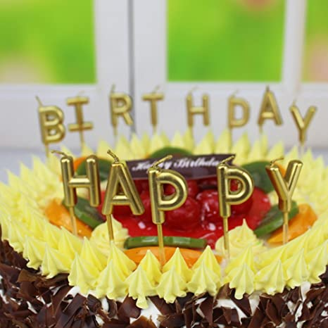 Beurio Birthday Letter Cake Candles Gold BT0001A