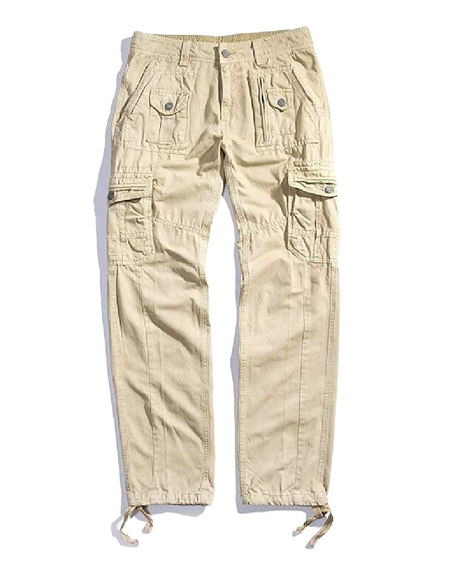 Macondoo Mens Cotton Classic Cargo Multi Pockets Outdoor Trousers Pants