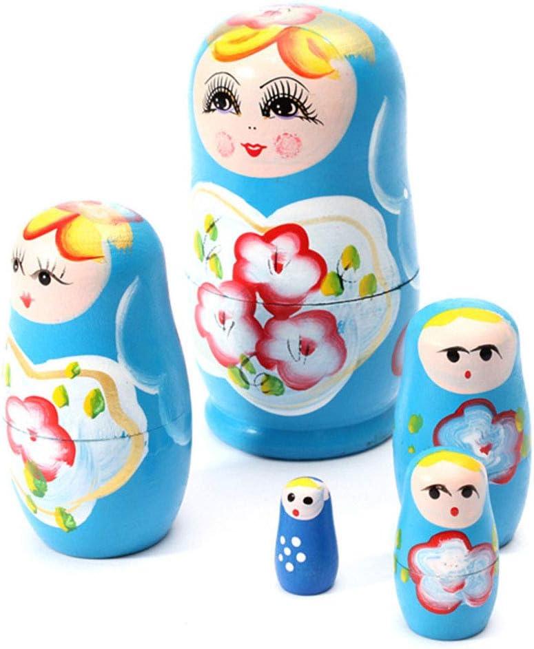LLQ Russian Nesting Dolls 5 Traditional Matryoshka Hohloma Style Wooden Dolls Hand Made blue