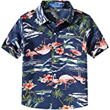 SSLR Big Boy's Pink Flamingos Button Down Casual Short Sleeve Hawaiian Shirt (Medium(10-12), Dark Blue)