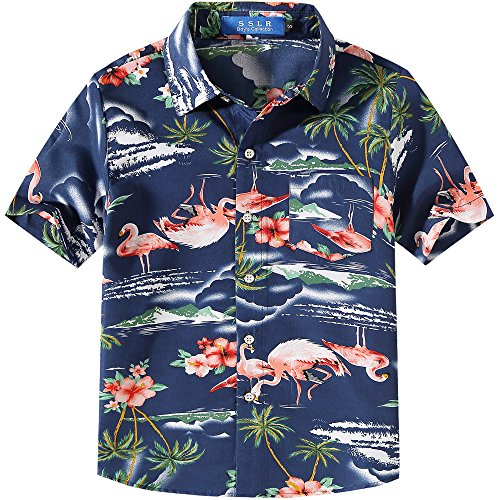 SSLR Big Boy's Flamingos Button Down Short Sleeve Aloha Hawaiian Shirt (Medium(10-12), Dark Blue)
