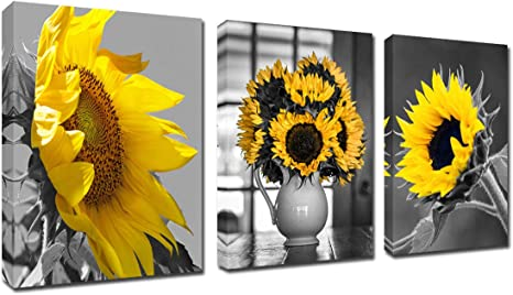 Amazon Com Black And White Sunflower Wall Art Simple Life Flower Framed Artwork Decor 12 X16 3 Piece Canvas Prints Modern Floral Painting For Living Room Decoration Home Kitchen Poster Ready To