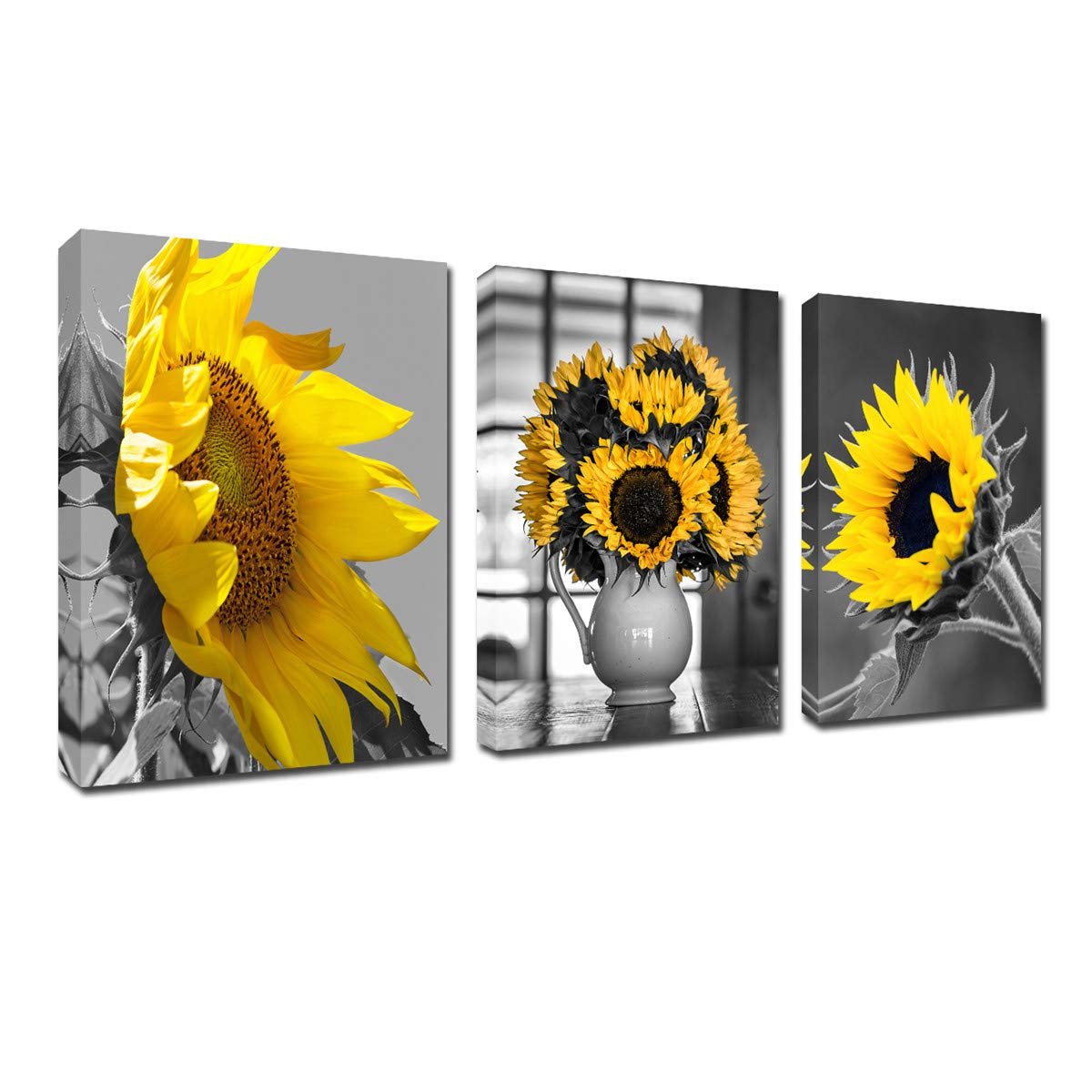Black and White Sunflower Wall Art - Simple Life Flower Framed Artwork Wall Decor 12''x16'' 3 Piece Canvas Prints Modern Floral Painting for Living Room Decoration Home Kitchen Poster Ready to Hang