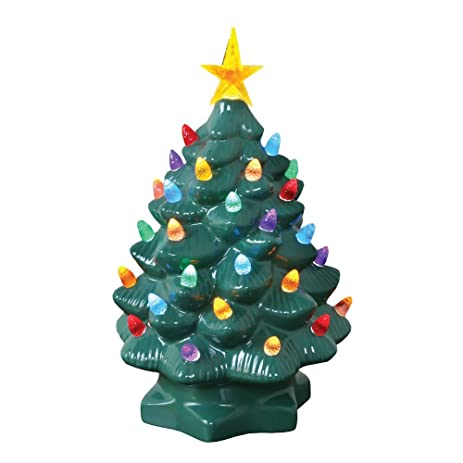 amazoncom nostalgic ceramic christmas tree led lighted mini tree 10 tall home kitchen - Christmas Tree Game