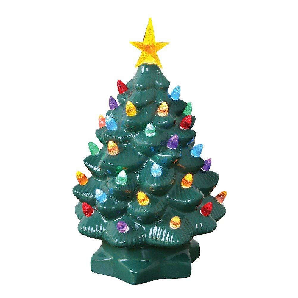 ART & ARTIFACT Nostalgic Ceramic Christmas Tree - LED Lighted Mini Tree 10'' Tall