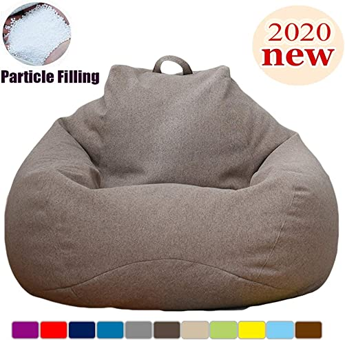 Extra Soft Bean BagChair,Memory Foam BeanBag Seat Chair with Natural Removable Cotton Linen Fabric Particle Filling Lazy Sofa Furniture Couch Tatami for Adult,Kids Living Room