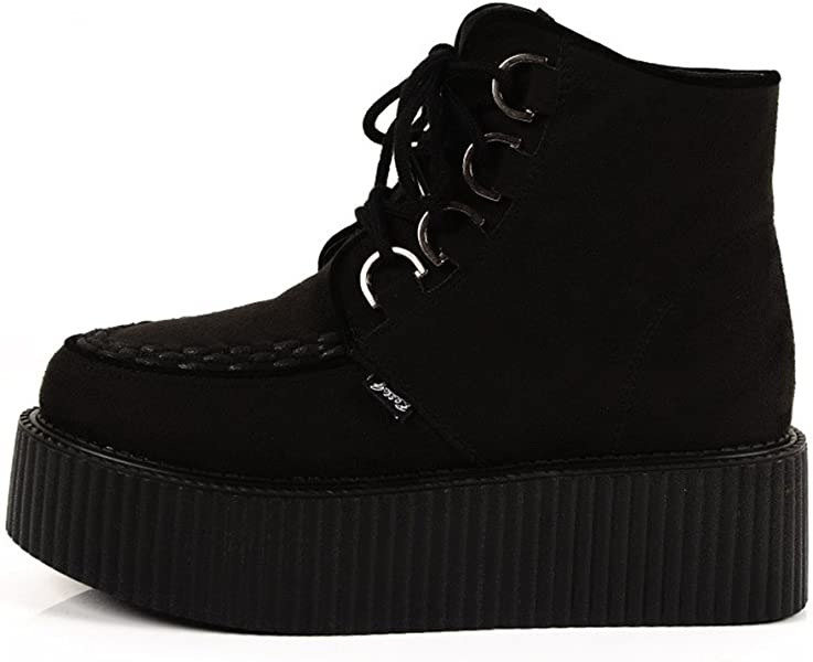 5ef4a1f8f0c91 Women s High Top Suede Lace Up Flat Platform Creepers Shoes Boots. Back.  Double-tap to zoom
