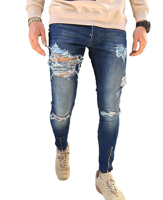 c1f6f580512 XARAZA Men's Ripped Distressed Slim Fit Denim Pants Skinny Tapered ...