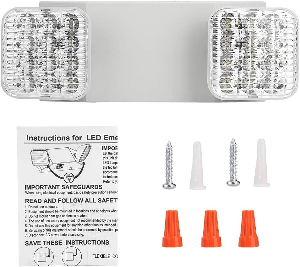La lumi/ère de Secours Dincendie de la Double T/ête de lampe LED Ajustement de 180 Degr/és s/échappent de Sortie D/éclairage de Secours /à Haute luminosit/é