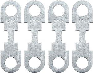 uxcell 4pcs 60A Flat Fuse Strip Metal Silver Tone 42mm Length for Car Automotive DC 32V Universal