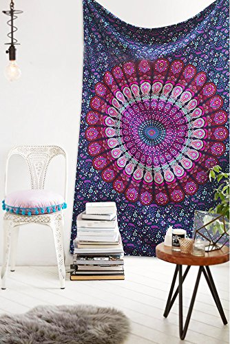 Americana Decor's Indian Mandala Tapestry Wall Hanging Throw Decorative New Mandala Throw (Pink)