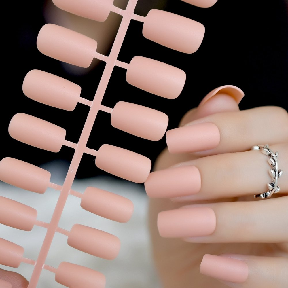 CoolNail Nude Matte Fake False Nails Squoval Top Frosted Light Orange Artificial Pre Designed Bride Nail