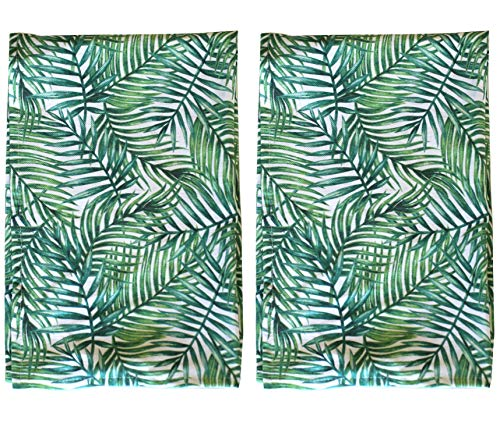 (Palm Print Leaf Tea Towel SET OF 2 Absorbent Hand towels 100% cotton with hanging loop for all of your drying, wiping, and cleaning kitchen and bathroom tasks. Perfect for the plant lover!)