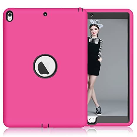 I Pad Pro 10.5 Case, Kamii 3in1 Hybrid Silicone & Pc Shock Absorption / High Impact Resistant Hybrid Armor Defender Full Body Protective Case For Apple I Pad Pro 10.5 Inch(2017 Model) (Rose+Black) by Kamii