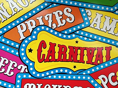 8 Circus Cutouts Carnival Banner Decorations Wall or Door Birthday Party Supplies -