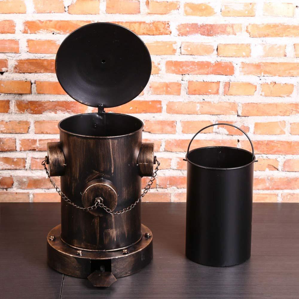 nouler Retro Wrought Iron Trash Can Storage Hydrant Cafe Bar Decoration,Black,One Size