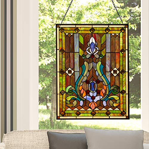 Peacock Stained Glass Panel - Fleur de Lis Stained Glass Panel: 24.75 Inch Decorative Tiffany Style Window Hanging - Large Framed Vertical Floral Hangings for the Wall or Windows with Blue, Purple, Green and Red Accents