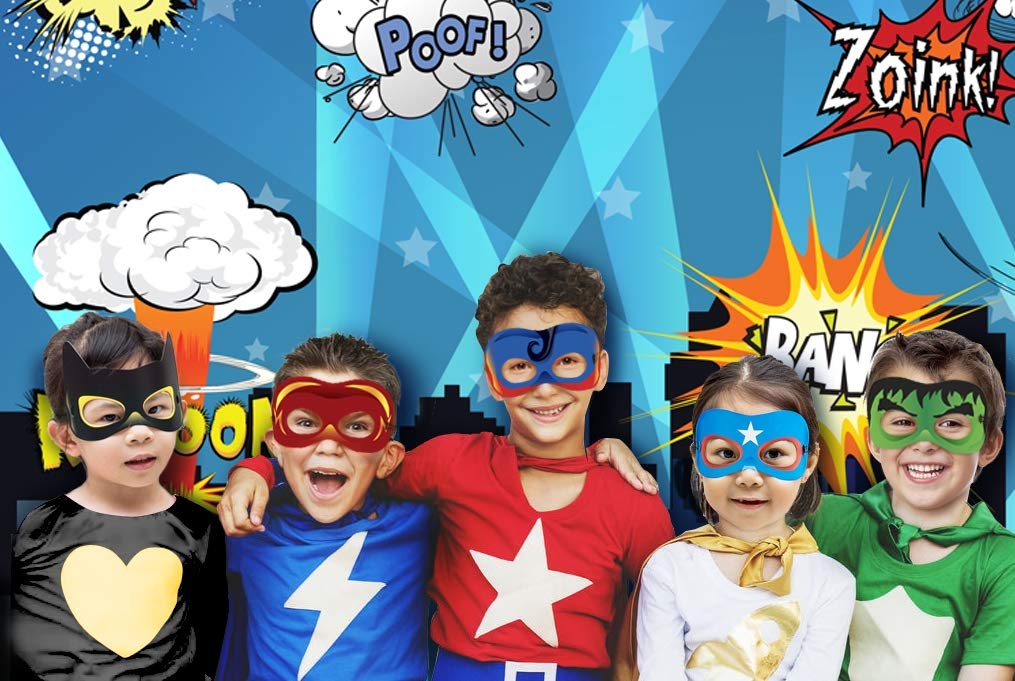 Superhero Cityscape Photography Backdrop, Studio Props, Flags and Mask DIY Kit. Great as Super Hero City Photo Booth Background - Birthday Party and Event Decorations by Glittery Garden (Image #2)
