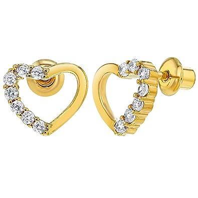 1d181e235dfe In Season Jewelry - Chapado en Oro 18k Cristal Claro Corazón Aretes con Cierre  de Rosca para Niñas  Amazon.es  Joyería